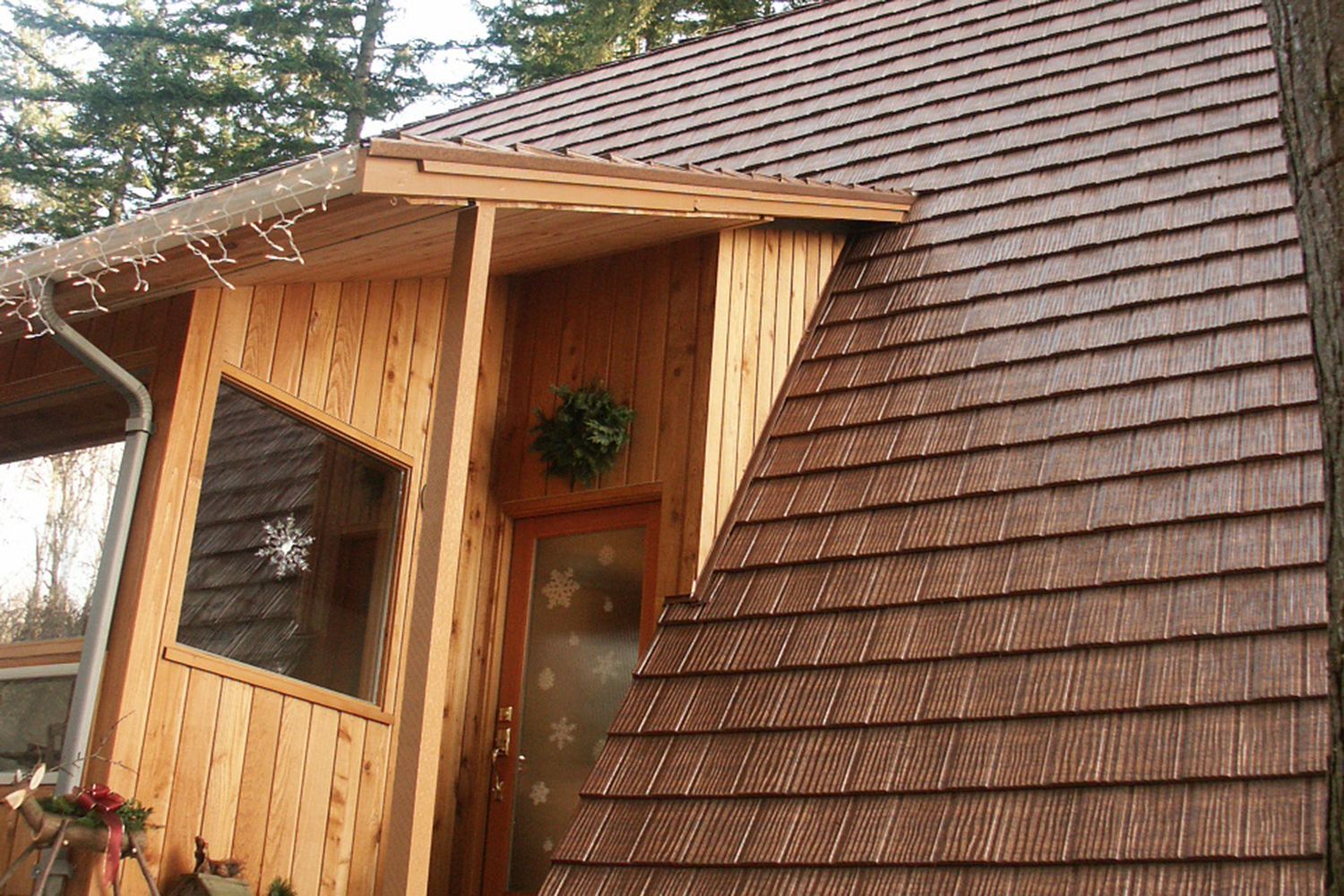 aged copper metal shake roof a-frame