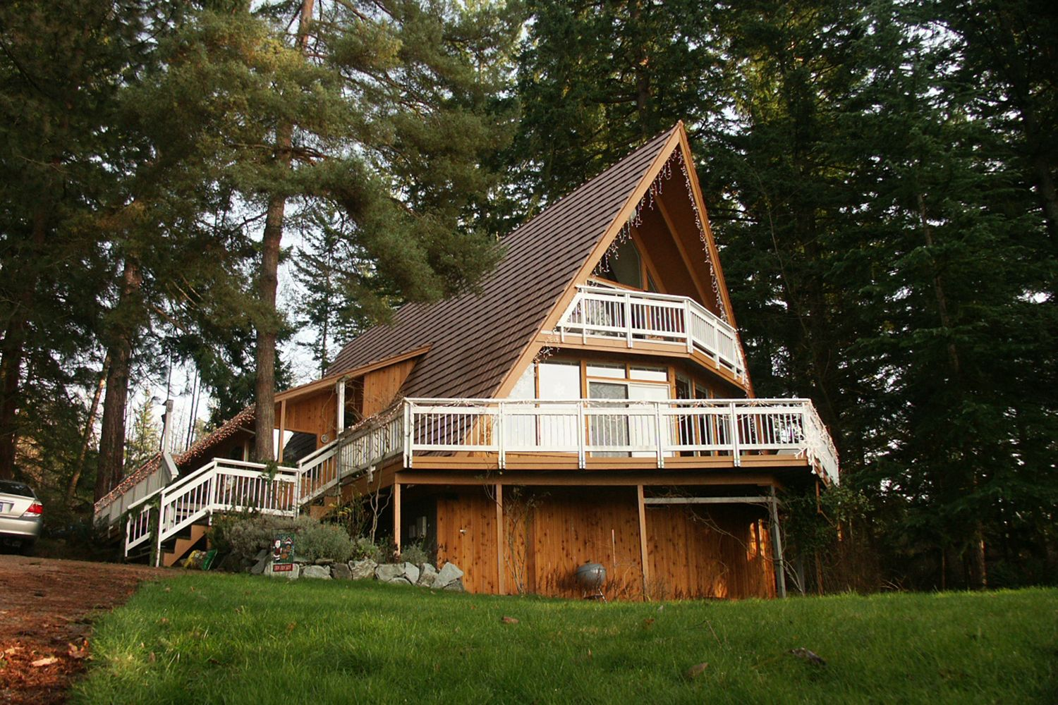 aged copper metal shake roof a-frame todd lake washington