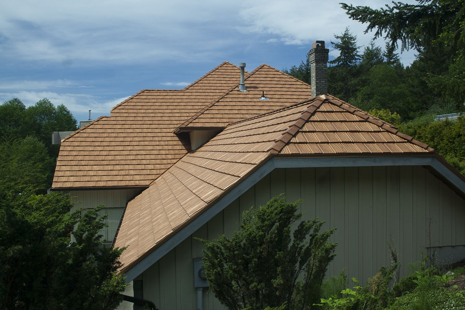 aged copper metal shake roof bc