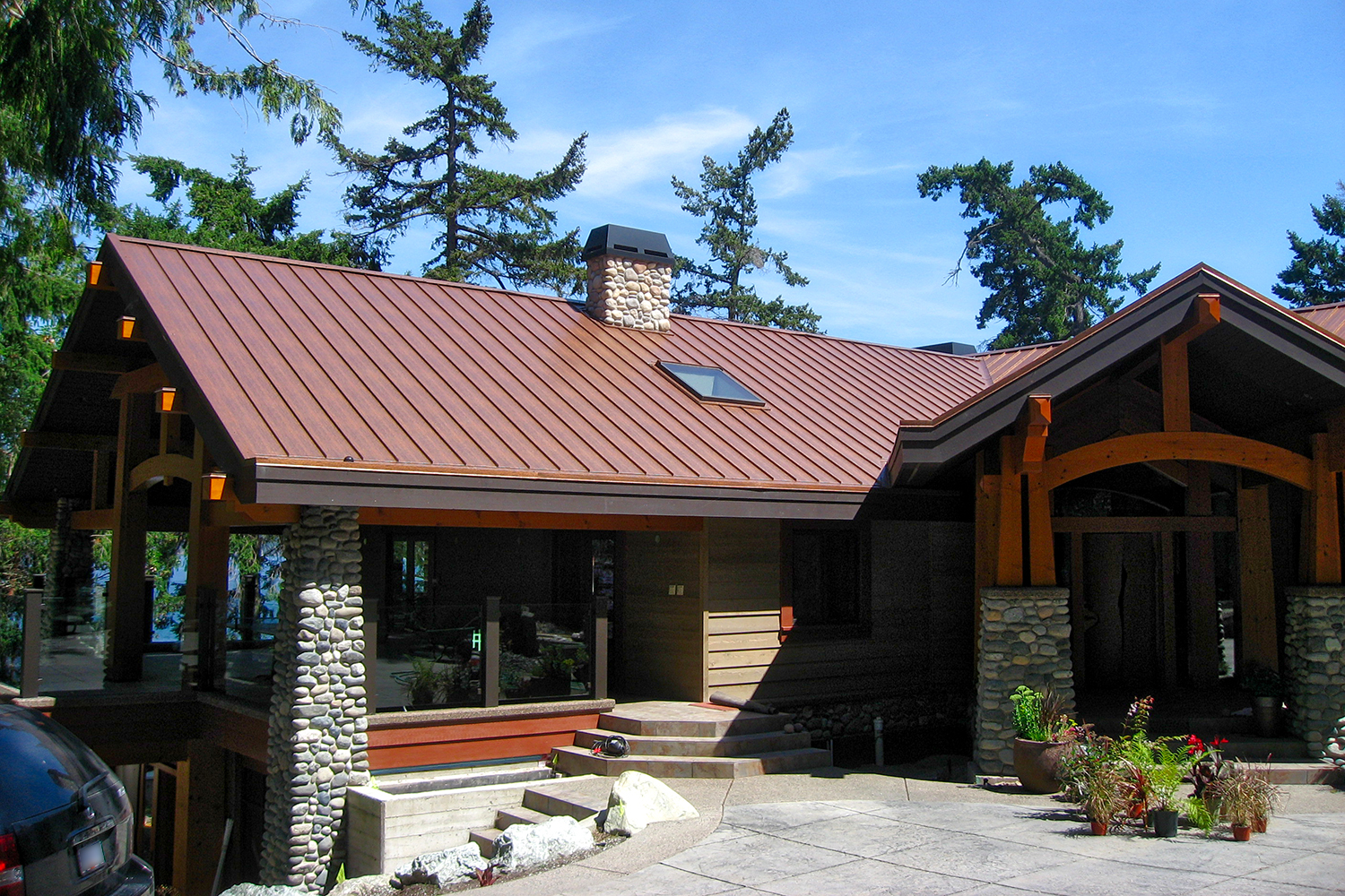 aged copper standing seam roof vancouver island