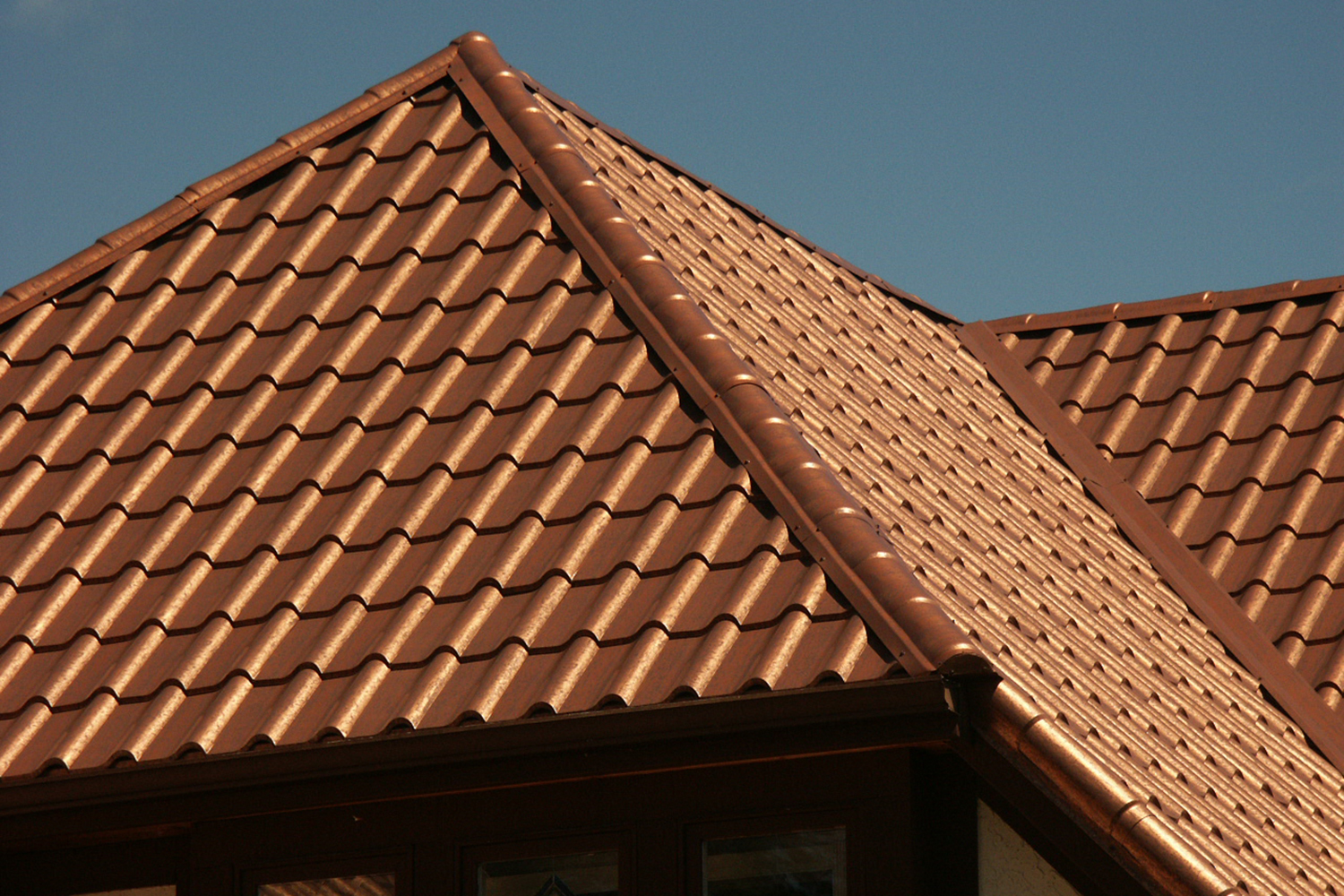 aged copper metal mediterranean tile roof shed roof
